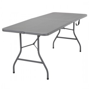 Cosco Molded Resin Top Fold-In-Half Dining Table In Grey