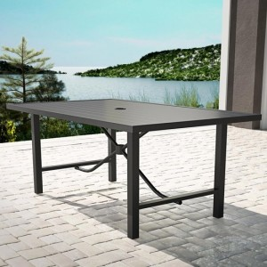 Cosco Outdoor Capitol Hill Metal Patio Dining Table In Charcoal Grey