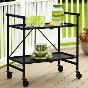 Cosco Outdoor Intellifit Folding Drinks Trolley With 2 Shelves In Black