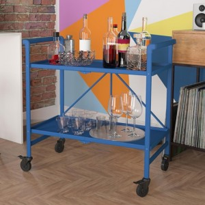 Cosco Outdoor Intellifit Folding Drinks Trolley With 2 Shelves In Blue