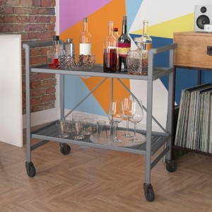 Cosco Outdoor Intellifit Folding Drinks Trolley With 2 Shelves In Grey