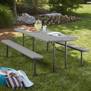 Cosco Outdoor Intellifit Folding Picnic Table With 2 Benches In Dark Grey