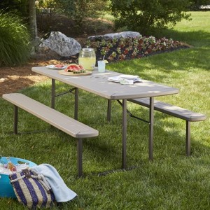 Cosco Outdoor Intellifit Folding Picnic Table With 2 Benches In Taupe