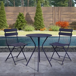 Cosco Outdoor Metal Fixed Bistro Set With 2 Folding Chairs In Navy