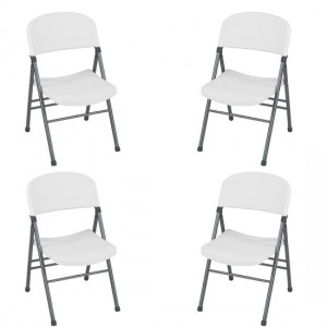 Cosco Resin Set Of 4 Folding Chairs With Molded Seat In White Speckle