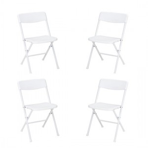 Cosco Resin Set Of 4 Folding Chairs With Molded Seat In White