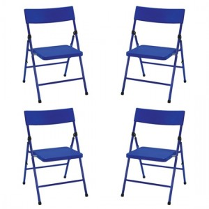 Cosco Safety First Kids Pinch-Free Set Of 4 Folding Chairs In Blue