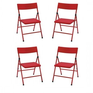 Cosco Safety First Kids Pinch-Free Set Of 4 Folding Chairs In Red
