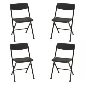 Cosco Set Of 4 Folding Chairs With Molded Seat In Black