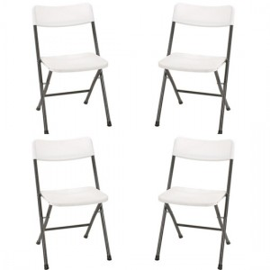 Cosco Set Of 4 Folding Chairs With Molded Seat In White Speckle