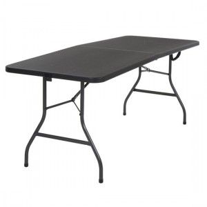 Cosco Small Molded Resin Top Fold-In-Half Dining Table In Black
