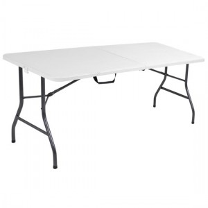 Cosco Small Molded Resin Top Fold-In-Half Dining Table In White