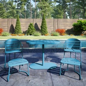 Cosco Steel Set Of 5 Bistro Set In Turquoise