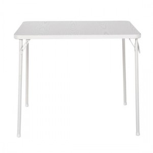 Cosco Textured Wood Grain Resin Top Square Folding Table In White