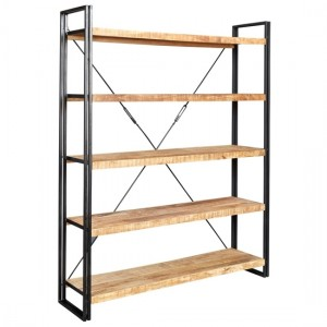Cosmo Industrial Large Open Bookcase In Reclaimed Wood