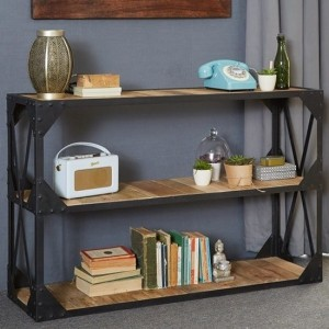 Cosmo Industrial Low Bookcase In Reclaimed Wood