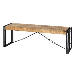 Cosmo Industrial Wooden Dining Bench In Oak With Black Metal Legs