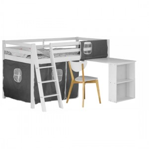 Cosmo Wooden Midsleeper Bunk Bed With Study Desk In White