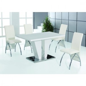 Costilla Wooden Dining Set In White High Gloss With 4 Chairs