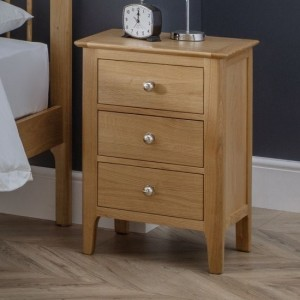 Cotswold Wooden 3 Drawers Bedside Cabinet In Natural