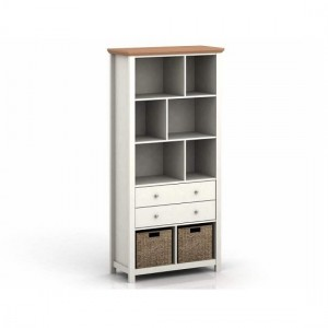 Cotswold Wooden Bookcase In Cream And Oak With 2 Drawers