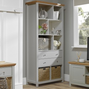 Cotswold Wooden Bookcase In Grey And Oak With 2 Drawers