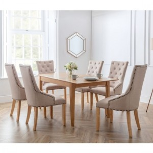 Cotswold Wooden Dining Table In Natural With 6 Loire Chairs