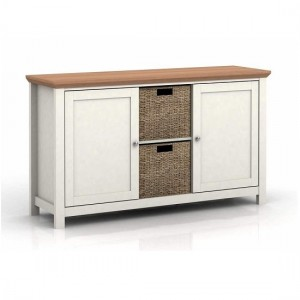 Cotswold Wooden Sideboard In Cream And Oak With 2 Doors