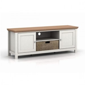 Cotswold Wooden TV Stand In Cream And Oak With 2 Doors