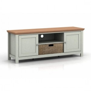 Cotswold Wooden TV Stand In Grey And Oak With 2 Doors