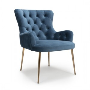 Countess Brushed Velvet Accent Chair In Caribbean Blue