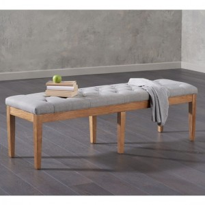 Courtney Large Fabric Dining Bench In Grey