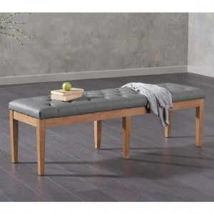 Courtney Large Faux Leather Dining Bench In Grey