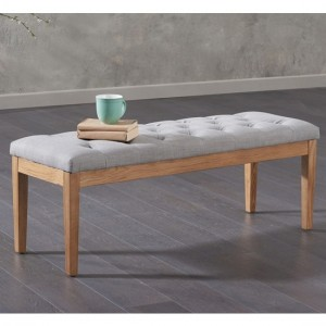 Courtney Small Fabric Dining Bench In Grey