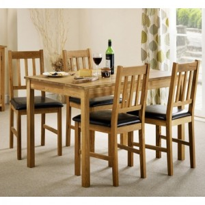 Coxmoor Rectangular Wooden Dining Table In Oak With 4 Chairs