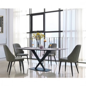 Crete Marble Dining Set In Lacquer With Black Metal Frame And 4 Chairs