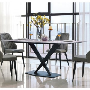 Crete Marble Dining Table With Black Metal Frame