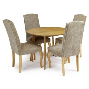 Croydon Round Dining Table In Oak With 4 Bark Fabric Kensington Chairs