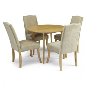 Croydon Round Dining Table In Oak With 4 Fudge Fabric Knightsbridge Chairs