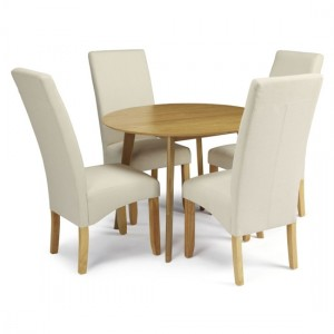 Croydon Round Dining Table In Oak With 4 Putty Fabric Merton Chairs