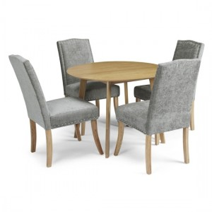 Croydon Round Dining Table In Oak With 4 Steel Fabric Knightsbridge Chairs