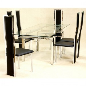 Crystal Extending Clear Glass Dining Set With 6 Trinity Chairs