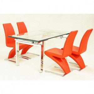 Crystal Extending Glass Dining Set With 4 Ankara Chairs
