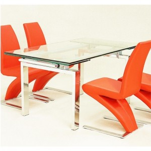 Crystal Extending Glass Dining Table With Chrome Legs