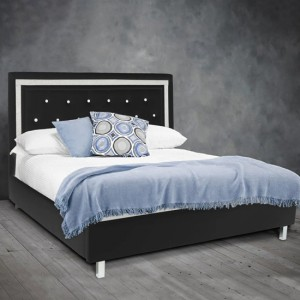 Crystalle Faux Leather Upholstered King Size Bed In Black