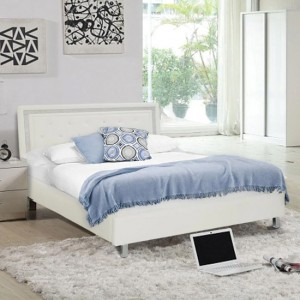 Crystalle Faux Leather Upholstered King Size Bed In White