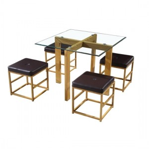 Cube Glass Dining Set With 4 Brown Stools