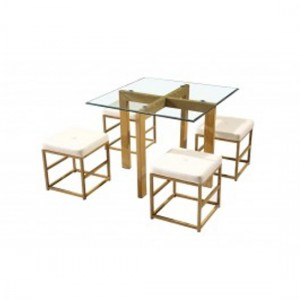 Cube Glass Dining Set With 4 Cream Stools