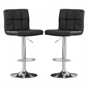 Cubik Black Faux Leather Bar Stools In Pair With Chrome Base