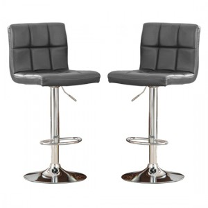 Cubik Grey Faux Leather Bar Stools In Pair With Chrome Base